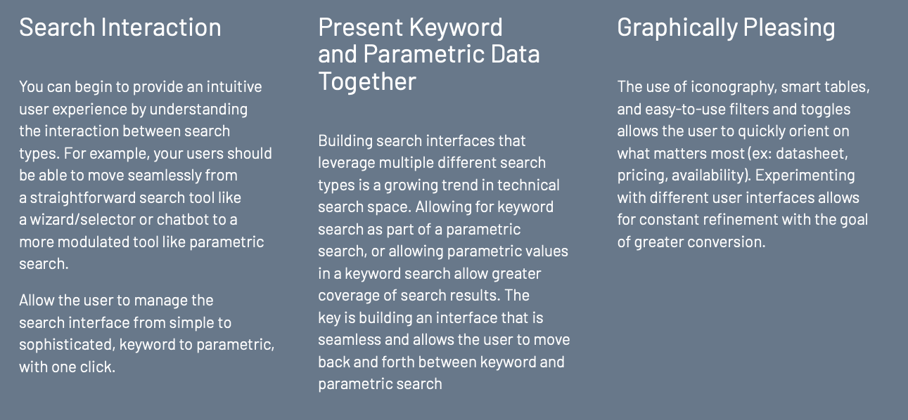 keys of great user interface in tech search